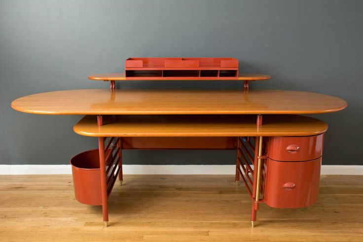 Rare 'Johnson Wax 1' Desk by Frank Lloyd Wright | From a unique collection of antique and modern desks at https://www.1stdibs.com/furniture/storage-case-pieces/desks/