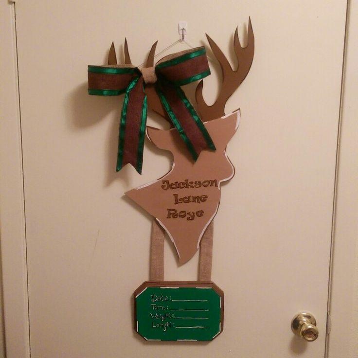 Baby boy deer cutout birth announcement hospital door for Door hanger design ideas