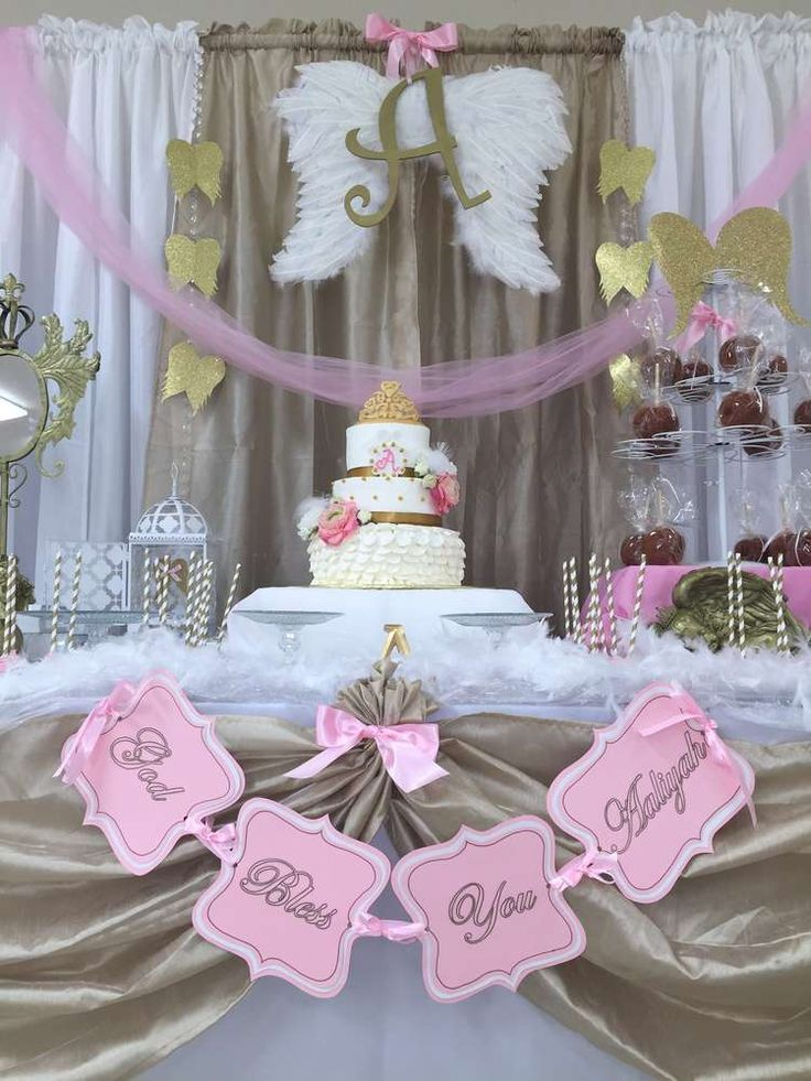 Angel baptism party dessert table! See more party ideas at CatchMyParty.com!