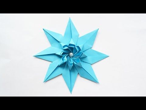Blue Paper Flower Star Modular Origami Tutorial Diy Youtube