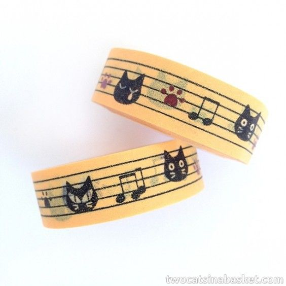 Washi Tape Stave Cat Naranja - TWO CATS IN A BASKET