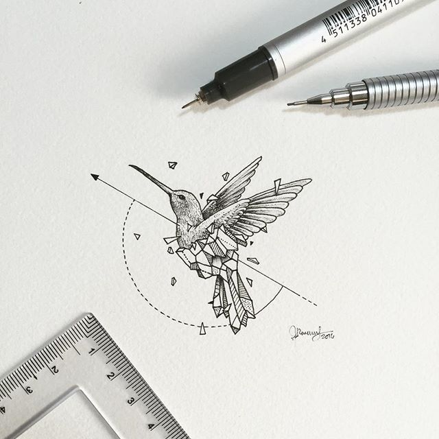 Geometric Beasts | Hummingbird  Smallest so far.