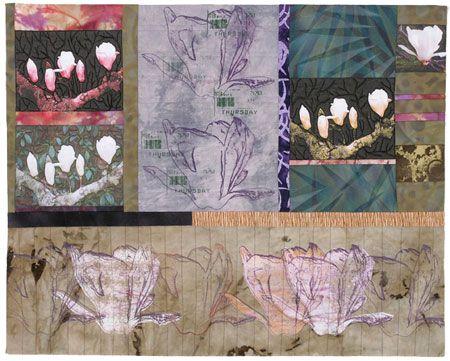 Linda Colsh - Thursday's Magnolia  2005  H24 x W30 inches (60 x 75cm): Linda Colsh, 2005 H24, Inch, Art Quilt, Art Collage, Business Pin, Media, Fiber Art, Magnolias 2005