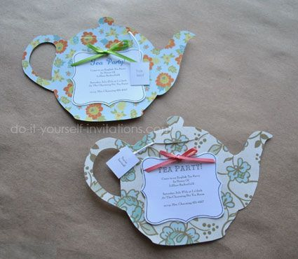 Make tea party invitations. Template & instructions available. DIY paper crafts for cards & decorations.