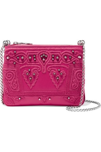 Fuchsia smooth, textured and patent-leather (Calf) Magnetic fastenings at open top Comes with dust bag Weighs approximately 1.8lbs/ 0.8kg Made in Italy