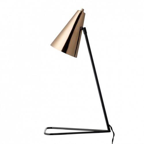 Stilig bordlampe fra Bloomingville med svart fot og kobberbelagt skjerm. Minimalistisk og varmt design. Bredde: 37 cm Høyde: 59 cmSokkel: E14Max 40W Anbefalt lyskilde: (Medfølger ikke)