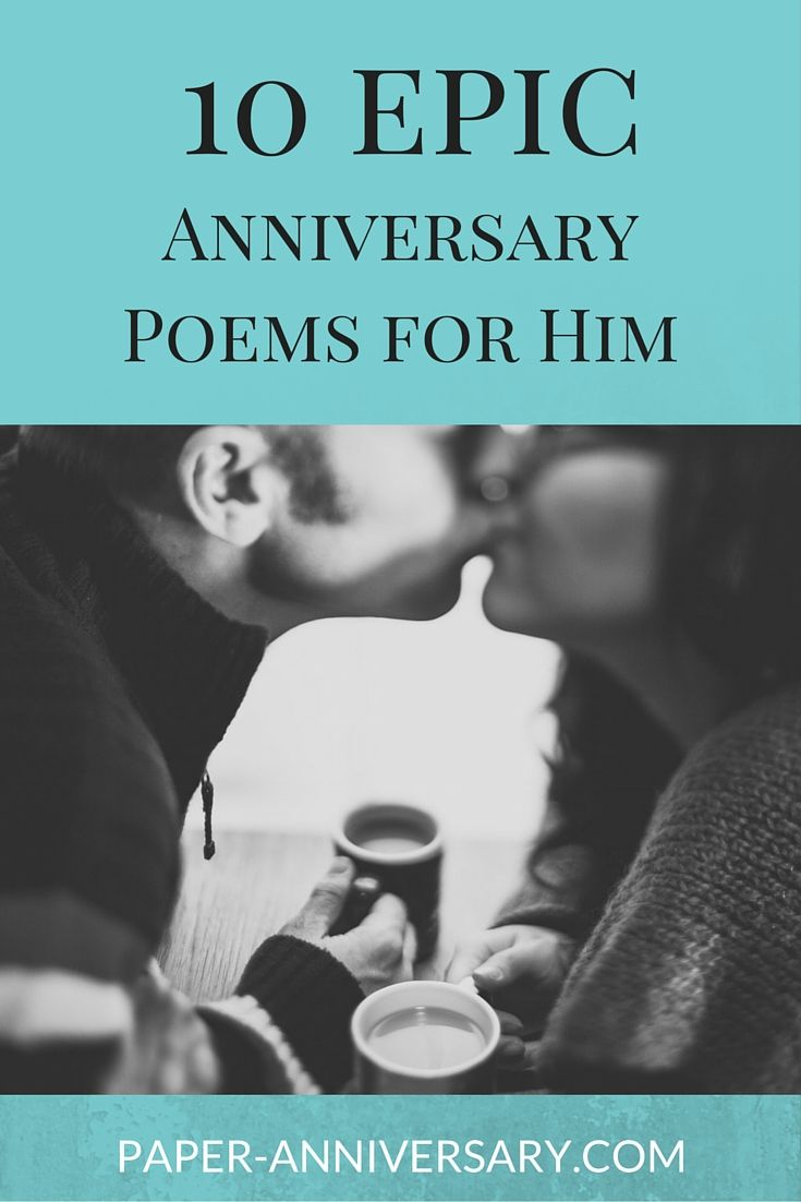 Don't write an uninspired anniversary card to your husband! These 10 epic anniversary poems for him will spice up your love letters and help express your love to him.  #6 is our favorite! #anniversarypoems