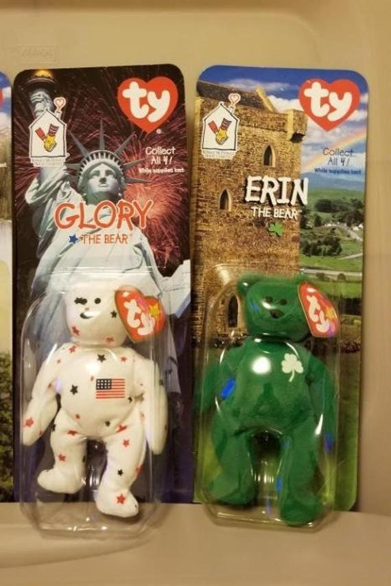 Erin /& Maple The Bear McDonalds Ty Teenie Beanie Babies Britannia 4-PK Glory