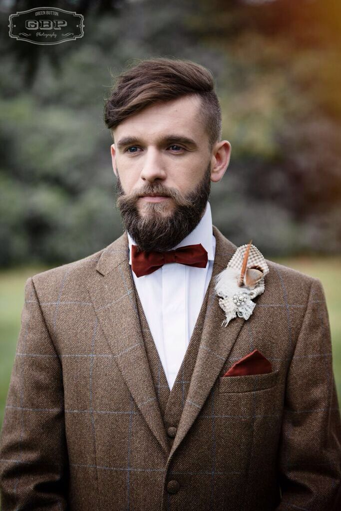 Bespoke handcrafted bow tie and matching pocket square from Lilly Dilly's #wedding #bow tie #pocket square #groom #ushers #bespoke #vintage #luxury #couture #Lilly Dilly's #burnt orange