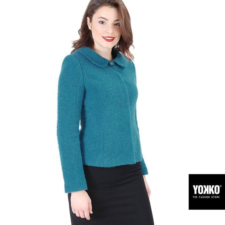 CHRISTINE ✨ sacou elegant din bucle de lana cu alpaca YOKKO | fall-winter 2016  #wool #jacket #turquoise #warm #new #women #fashion #style #yokko