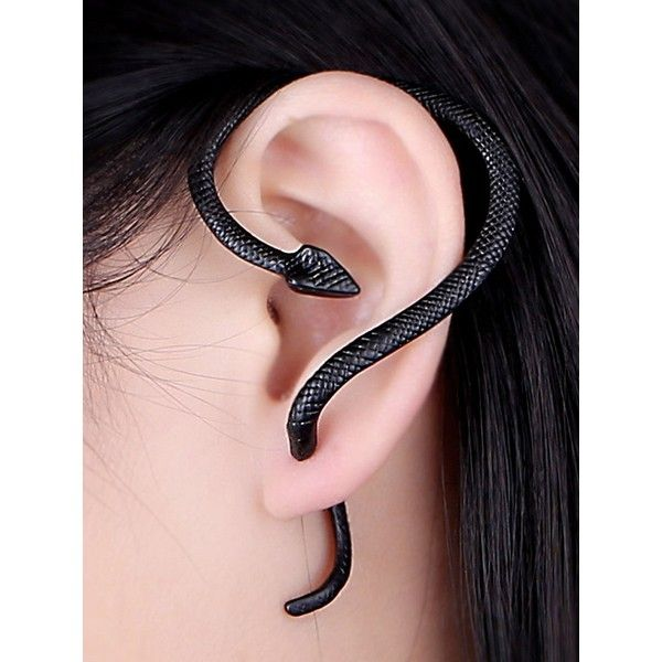 Choies Black Winding Snake Ear Cuff (£3.72) ❤ liked on Polyvore featuring jewelry, earrings, black, snake ear cuff earring, snake ear cuff, snake jewelry, ear cuff jewelry and earring jewelry