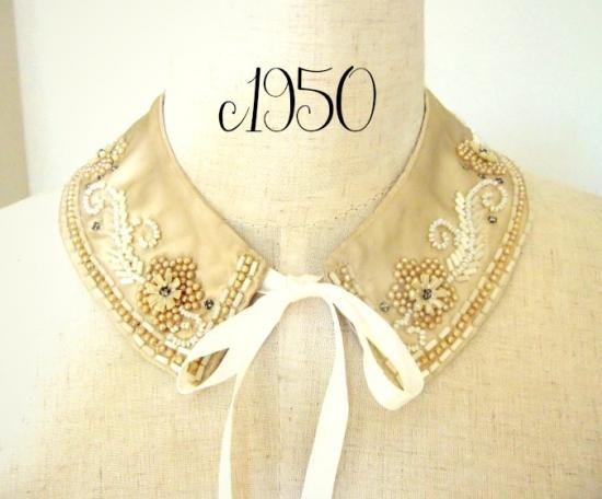 1950年代 お花モチーフビーズ刺繍の付け襟 - Antique Vintage Jewelry.com fromUK