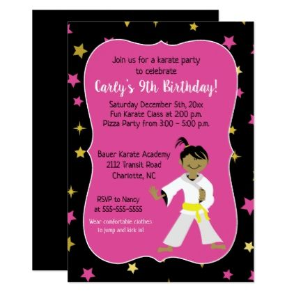Karate Birthday Invitations Yellow Belt - invitations personalize custom special event invitation idea style party card cards