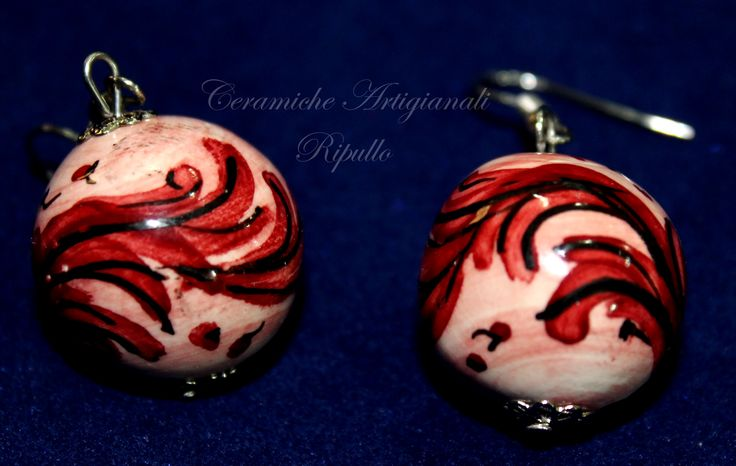 Ceramic Earrings, hand made, decorated with the patterns of the ceramics of Caltagirone. www.ceramicheripullo.com