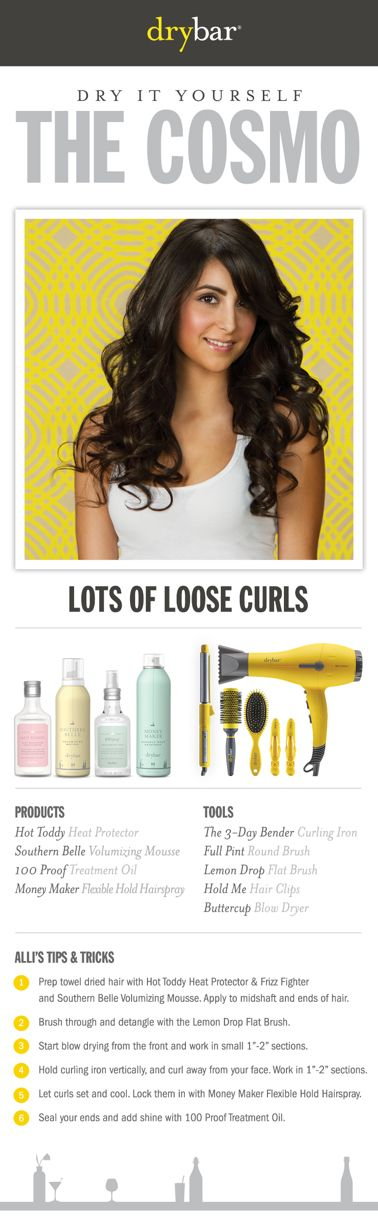 Get the look from Drybar: The Cosmo. Founded by longtime professional hairstylist Alli Webb, Drybar offers a line of styling products and tools designed specifically to achieve the perfect blowout.