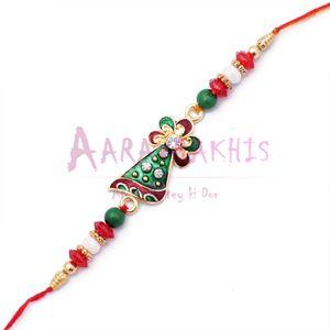 Diamond Kundan Rakhi for Brother with Colored Beads