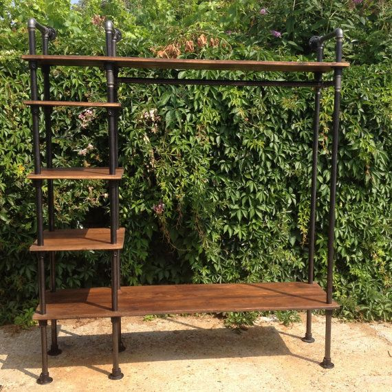 Retro Clothes Rail Vintage Industrial Style with Gas Pipes Old Rustic Wood