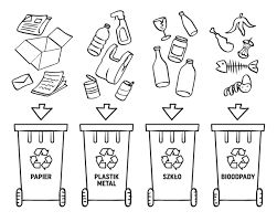 Znalezione obrazy dla zapytania segregowanie odpadów kolorowanka