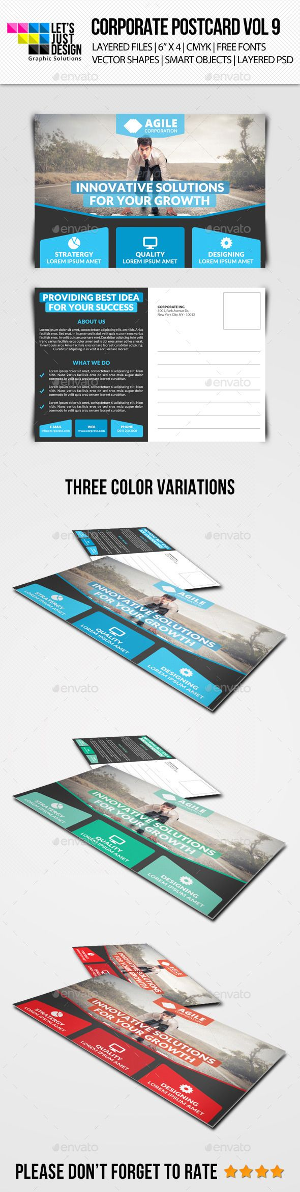 Corporate Postcard Template Vol 9 — Photoshop PSD #corporate #creative • Available here → https://graphicriver.net/item/corporate-postcard-template-vol-9/10746511?ref=pxcr