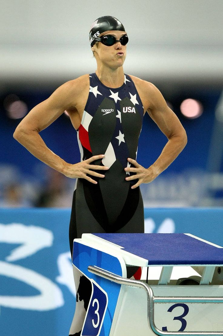 2008 - Dara Torres Swimming at the Beijing Olympics  Dara Torres prepares for the 4x100m freestyle relay final in the 2008 Olympics, where she will win a medal becoming the oldest swimmer to win an Olympic medal. #WomenWhoInspire