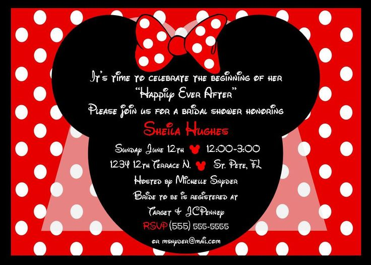 Minnie Mouse Bride bridal shower invitation red - DIY you print customized card by 2fungraphics. $10.00, via Etsy.