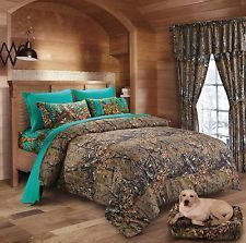 An awesome WOODS QUEEN SIZE 7PC SET CAMO COMFORTER AND TEAL SHEET SET CAMOUFLAGE BEDDING for only $69.99.