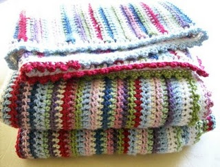 Love these colours! Vintage striped...she did it with half double crochet (us terms) instead of double crochet.