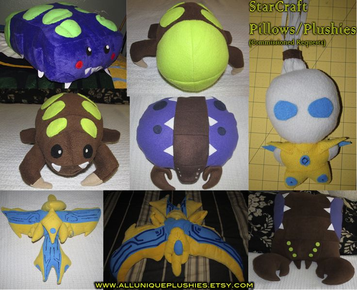 StarCraft Plushies + Pillows Commission Requests Accepted  Get yours! @ www.azzysuniqueplushies.com (Link on photo is wrong)