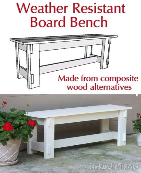 A simple to build Composite Weather Resistant Bench Because she didn't use regular lumber but instead used composite boards (AZEK, MiraTEK, Trex) it won't need to be repainted or rot. So smart! via www.TheKimSixFix.com