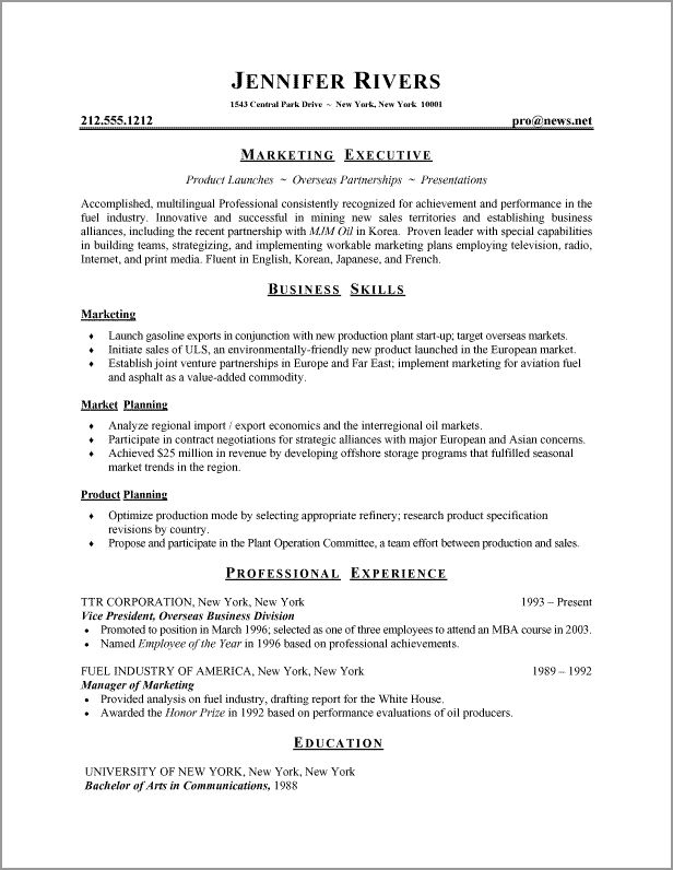 Resume Formats And Examples Resume Formats Samples Marketing