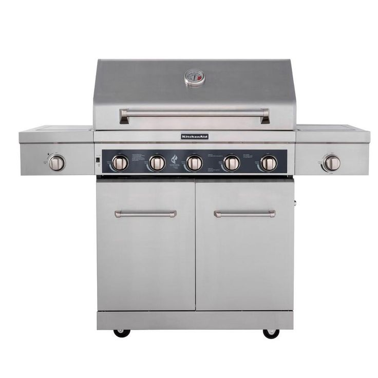 kitchenaid 5burner propane gas grill in stainless steel with sear and side burners plus cover