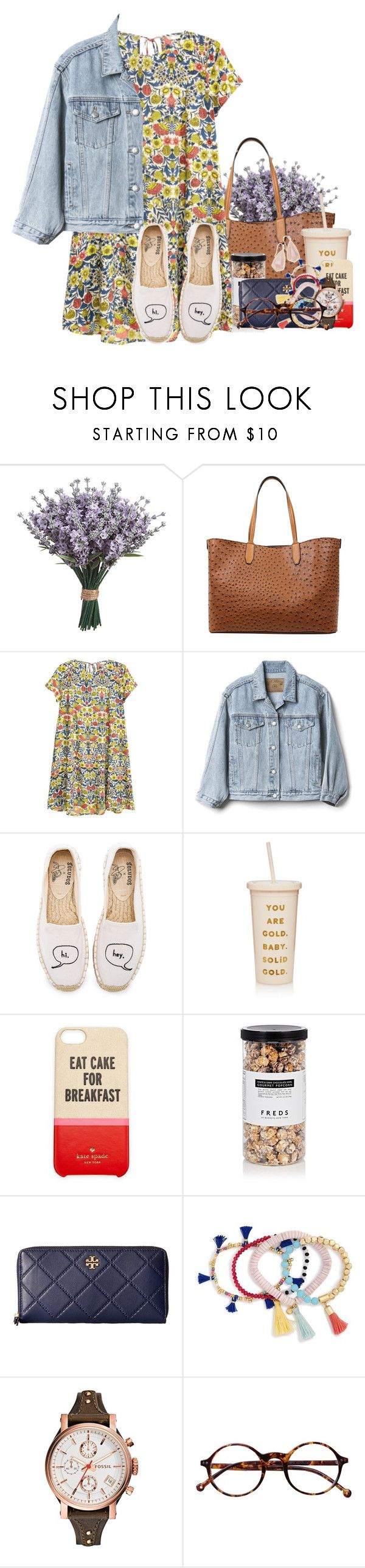 """""""I hate it how Hobby Lobby has christmas stuff in August"""" by flroasburn ❤ liked on Polyvore featuring Emilie M, H&M, Gap, Soludos, ban.do, Kate Spade, FREDS at Barneys New York, Tory Burch, BaubleBar and FOSSIL"""
