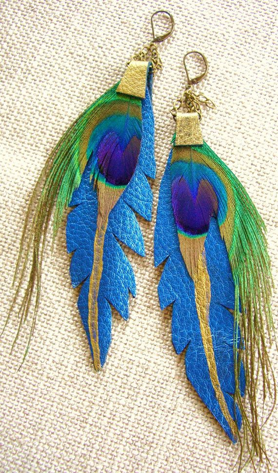 Native Drops Electric Blue Peacock Earrings. Love the leather and painted look