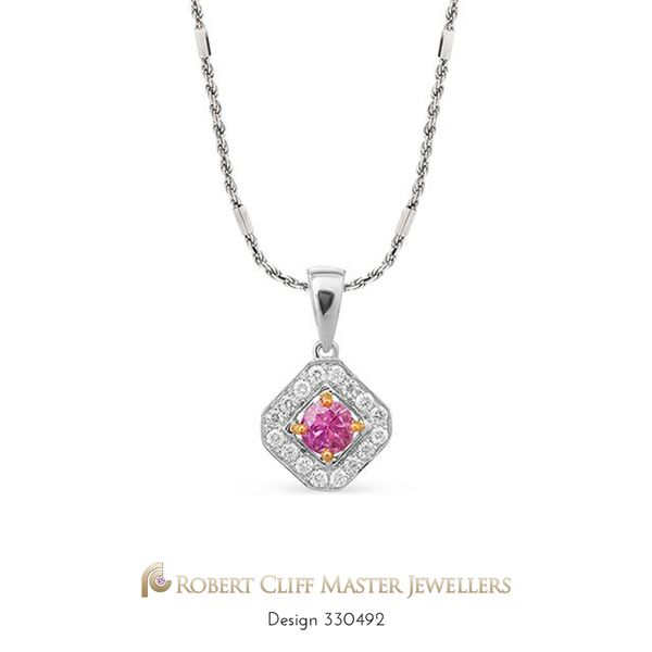 #Prettyinpink #sapphire - modern & elegant! A beautiful 18ct two-tone pendant, highlighting a centre deep pink sapphire pave set with brilliant cut #diamonds! Spoil her today, now only $1,250 --- #jewellerysale #somethingnew #specialoffer #specialprice #specialorder #specialdelivery #specials #specialgift #special #Gemstone #Gems #bling #stunningjewellery #design #beauty #style #jewellerydesign #luxurybrand #luxurylife #fashionaccessories #jewelleryaddict #instastyle
