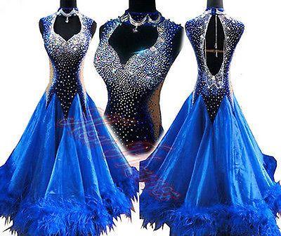 K4791 Feather fur Ballroom women Tango Waltz foxstep standard dance dress UK 12