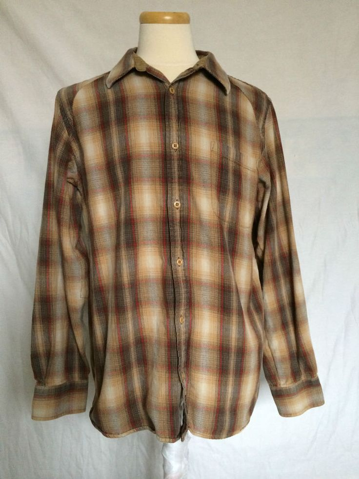 Mens Burton Shirt Sz Large Brown Plaids & Checks Long Sleeves #Burton #ButtonFront