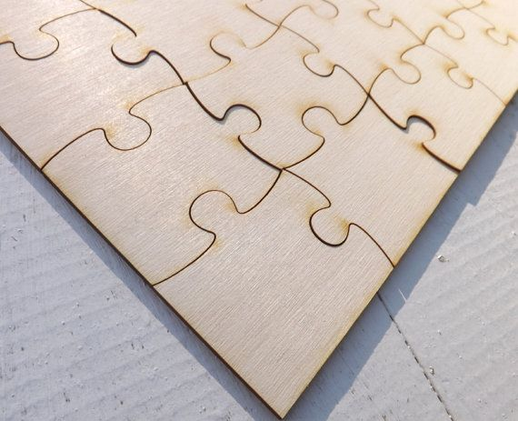 Wood Puzzle Pieces Wedding Guest Book Rustic by BVDesignsonline