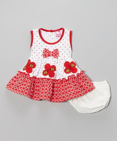 Look at this #zulilyfind! Red Butterfly Bow Dress & Diaper Cover - Infant by Lele for Kids #zulilyfinds