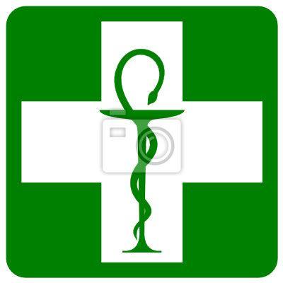 Tableau caducée de pharmacie dans croix verte • Posters et tableaux sur toile • PIXERS.fr