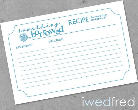 INSTANT DOWNLOAD - Something Borrowed - Printable Bridal Shower Recipe Card on Etsy, $10.00