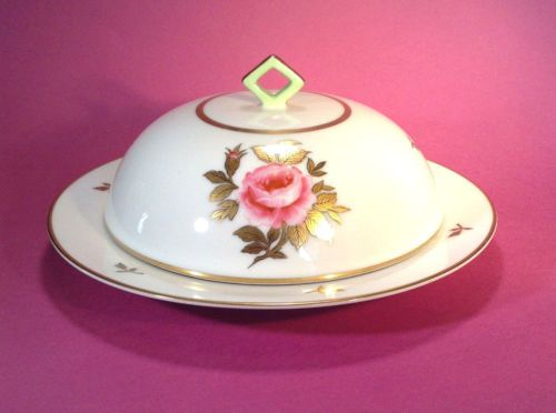 SOLD! NIPPON-Hand-Painted-Covered-Cheese-Or-Butter-Dish-With-Gilding-Noritake-Japan
