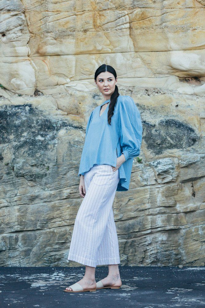 Mojave wide leg pants - Peach stripe | Carlieballard