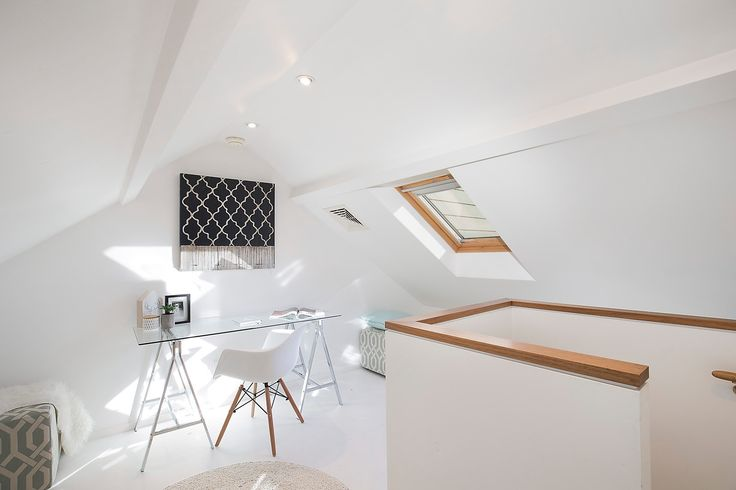 Study, pull down ladder for access, attic, desk, chair, ottomans, wall srt, velux windows, pretty terrace, immaculate interiors, 20 Ferris Street, Annandale, Pilcher Residential