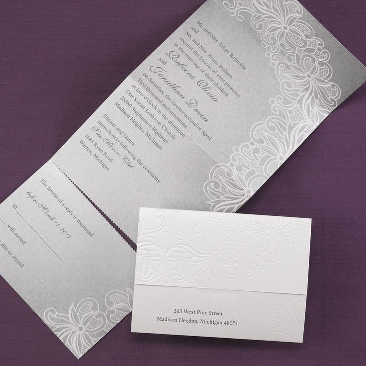 Luxurious Lace Seal nu0027 Send Wedding Invitation