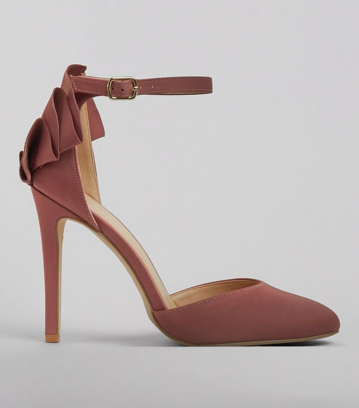 Z2018  Pink Satin Frill Trim Ankle Strap Heels | New Look