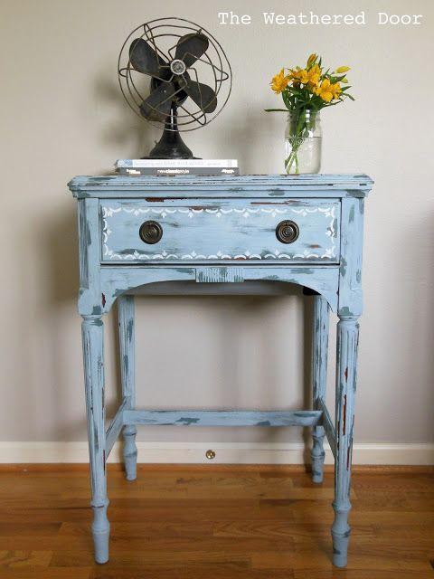 Cute Handprinted trim on Sewing Machine Table