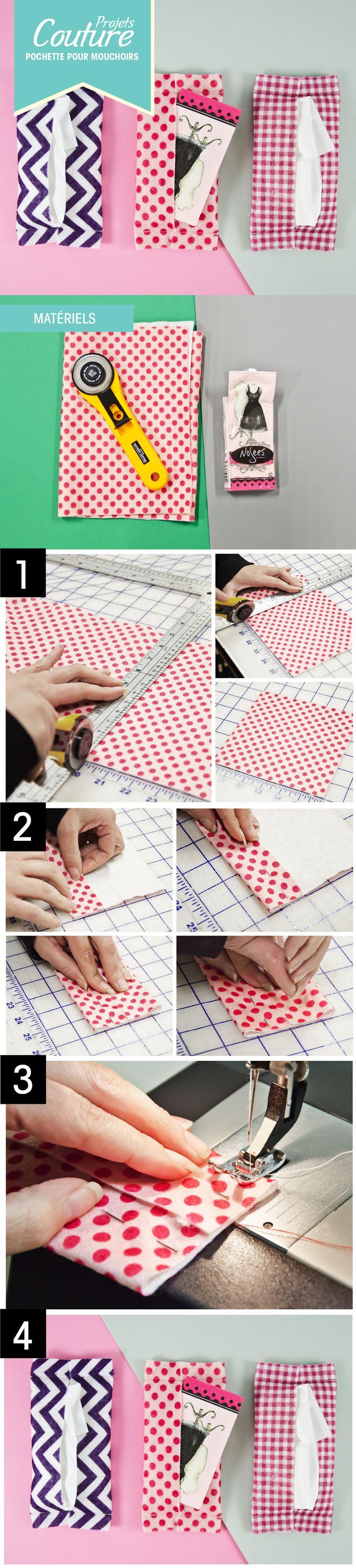 PAS À PAS: Une pochette pour vos mouchoirs! #DIY #couture #motif #feutre #bricolage http://clubtissus.com/articles-blog/articles-couture/projet-pochette-mouchoirs