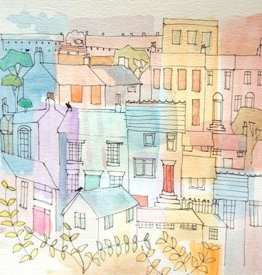 small town water colour