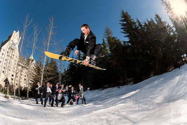 This groom and his groomsmen went snowboarding (in tuxes!) on the morning of the wedding!