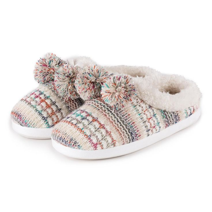 totes Ladies Bright Knit Mule Slippers Pastel